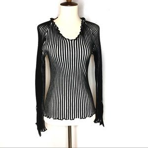 SIMONA SPELTA WOOL BLEND STRIPED RIBBED SWEATER SM